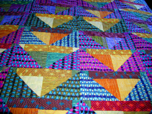 Stained Glass Flying Geese King Bedspread - piecing detail