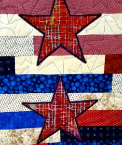 Patriotic Lap Quilt - star applique detail
