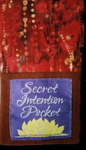 Example of back of the Secret Intention Pocket as separate pouch (trademark pending)